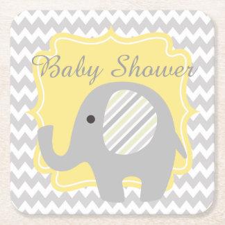 Elefante lindo de encargo de la fiesta de posavasos de cartón cuadrado