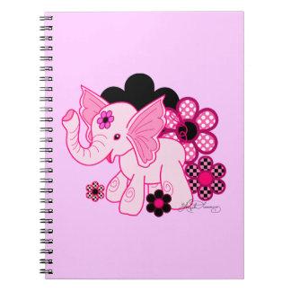 Elefante lindo de Kawaii Spiral Notebooks