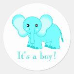 ¡Elefante lindo del bebé azul es un muchacho! Pegatina Redonda