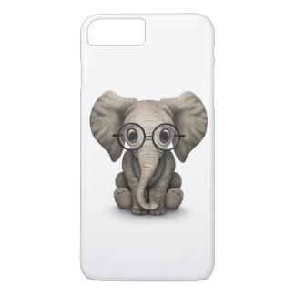 Elefante lindo del bebé con los vidrios de lectura funda iPhone 7 plus