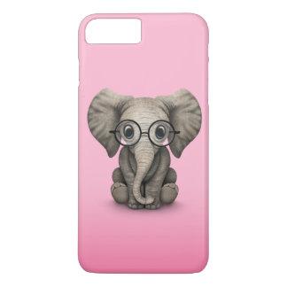 Elefante lindo del bebé con rosa de los vidrios de funda iPhone 7 plus