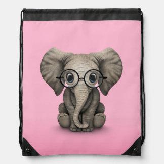 Elefante lindo del bebé con rosa de los vidrios de mochilas