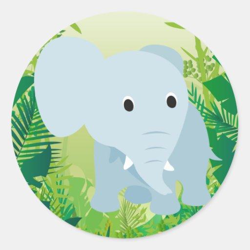 Elefante lindo del bebé etiqueta