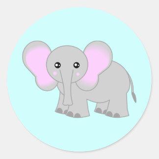 Elefante lindo del bebé pegatina redonda