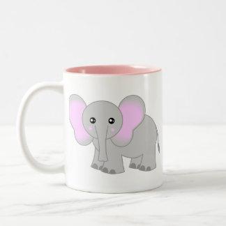 Elefante lindo del bebé taza de dos tonos