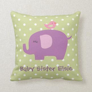 Elefante lindo del bebé y almohada personalizada p