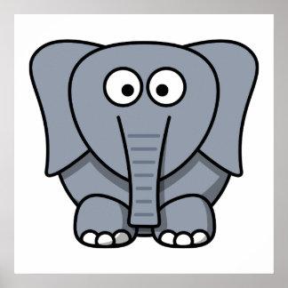 Elefante lindo del dibujo animado posters