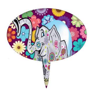 Elefante lindo del Hippie con las flores coloridas Figura De Tarta