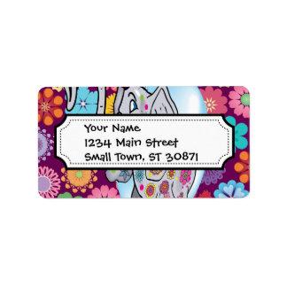 Elefante lindo del Hippie con las flores coloridas Etiquetas De Dirección