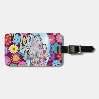 Elefante lindo del Hippie con las flores coloridas Etiqueta Para Maleta
