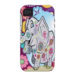 Elefante lindo del Hippie con las flores coloridas iPhone 4/4S Funda
