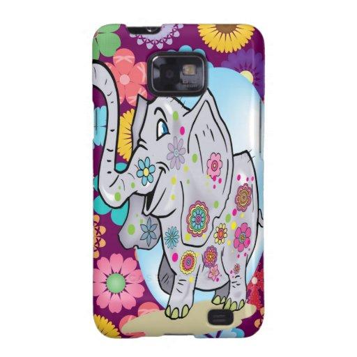 Elefante lindo del Hippie con las flores coloridas Galaxy S2 Funda