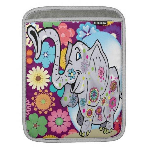 Elefante lindo del Hippie con las flores coloridas Fundas Para iPads