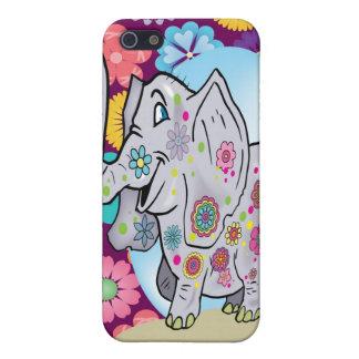 Elefante lindo del Hippie con las flores coloridas iPhone 5 Fundas