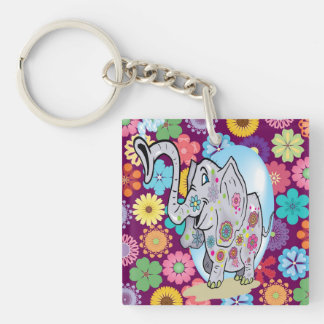 Elefante lindo del Hippie con las flores coloridas Llavero Cuadrado Acrílico A Doble Cara