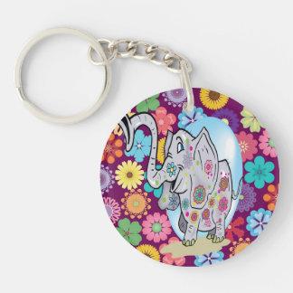 Elefante lindo del Hippie con las flores coloridas Llavero Redondo Acrílico A Doble Cara