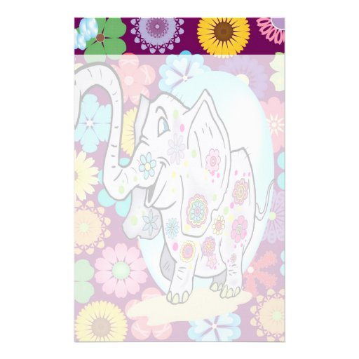 Elefante lindo del Hippie con las flores coloridas Papelería