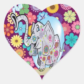 Elefante lindo del Hippie con las flores coloridas Pegatina En Forma De Corazón