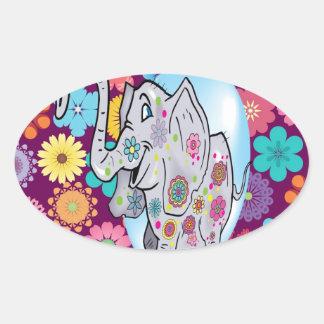 Elefante lindo del Hippie con las flores coloridas Pegatina Ovalada
