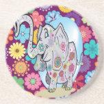 Elefante lindo del Hippie con las flores coloridas Posavaso Para Bebida