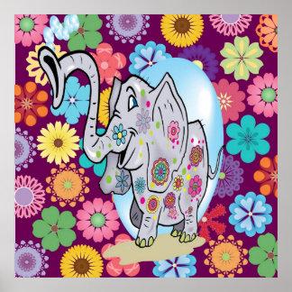 Elefante lindo del Hippie con las flores coloridas Póster