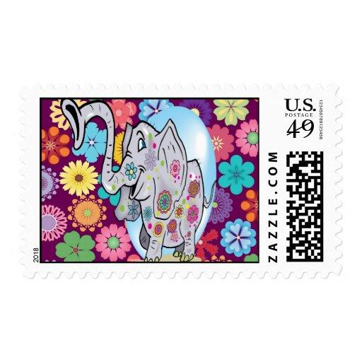 Elefante lindo del Hippie con las flores coloridas Franqueo