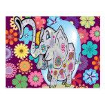 Elefante lindo del Hippie con las flores coloridas Tarjetas Postales