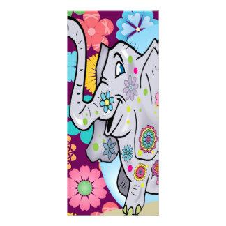 Elefante lindo del Hippie con las flores coloridas Tarjeta Publicitaria Personalizada