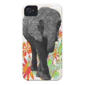 Elefante lindo del hippy Case-Mate iPhone 4 funda