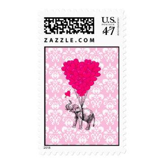 Elefante lindo divertido y damasco rosado estampilla