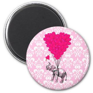 Elefante lindo divertido y damasco rosado imán de frigorífico
