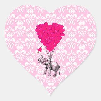 Elefante lindo divertido y damasco rosado calcomanía de corazón