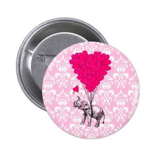 Elefante lindo divertido y damasco rosado pins