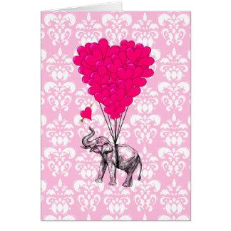 Elefante lindo divertido y damasco rosado tarjetas