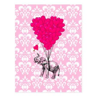 Elefante lindo divertido y damasco rosado tarjetas postales
