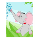 Elefante lindo en hierba tarjetas postales