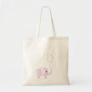 Elefante lindo en rosado femenino y púrpura bolsas de mano