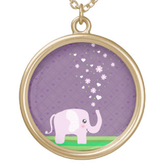 Elefante lindo en rosado femenino y púrpura collares personalizados