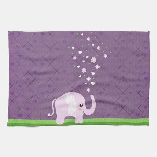 Elefante lindo en rosado femenino y púrpura toallas de mano