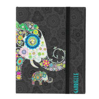 Elefante lindo floral retro colorido