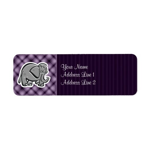Elefante lindo; Púrpura Etiqueta De Remite