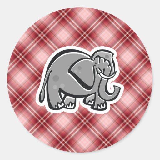 Elefante lindo; Tela escocesa roja Etiqueta Redonda
