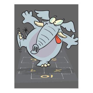 elefante lindo tonto Toon del hopscotch Postal