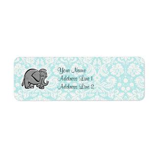 Elefante lindo; trullo etiquetas de remite