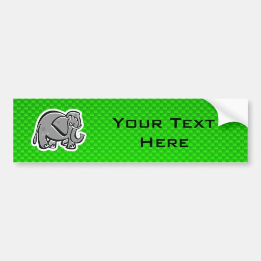 Elefante lindo; Verde Pegatina De Parachoque