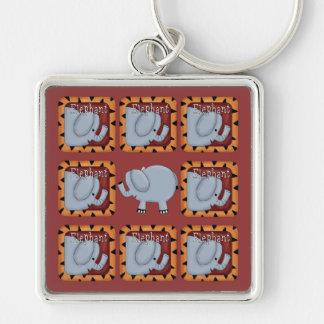 Elefante Llavero Cuadrado Plateado