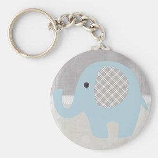 Elefante magnífico del bebé en azul llavero redondo tipo pin