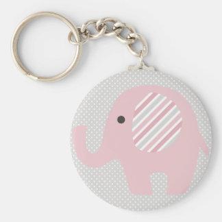 Elefante magnífico del bebé en rosa llavero redondo tipo pin