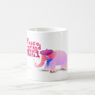 elefante metal del amor y de la muerte de la paz taza