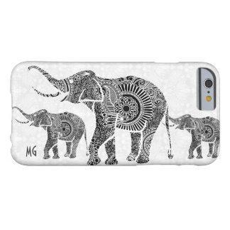 Elefante-Monograma floral del vintage negro y Funda De iPhone 6 Barely There